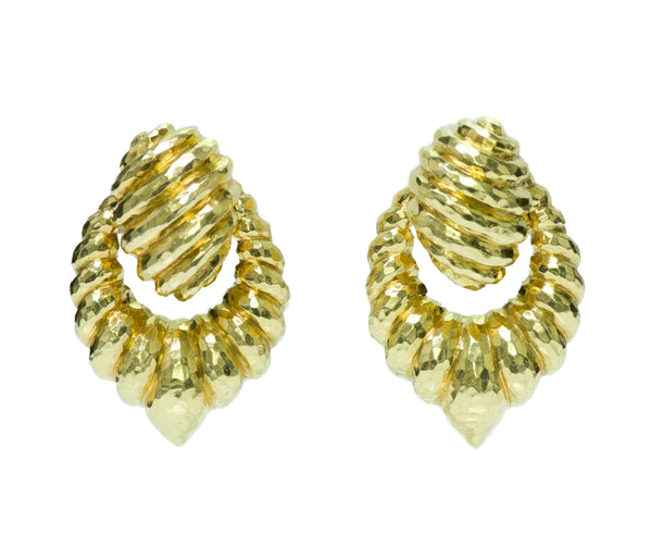 Henry Dunay 18K Hammered Gold Estate Door-Knocker Earrings