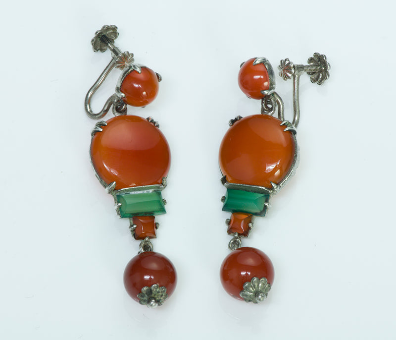 Art Deco Carnelian Green Onyx Silver Earrings