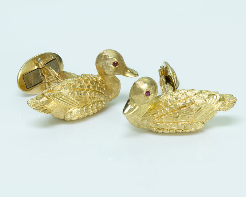 Kurt Wayne 18K Gold Ruby Duck Cufflinks