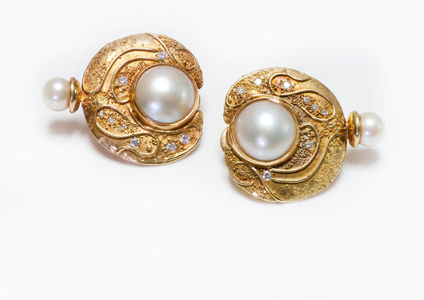 Elizabeth Gage Diamond Pearl Earrings