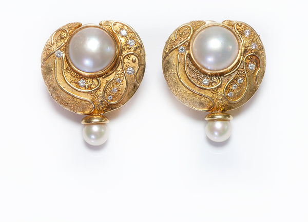 Elizabeth Gage Gold Diamond Pearl Earrings