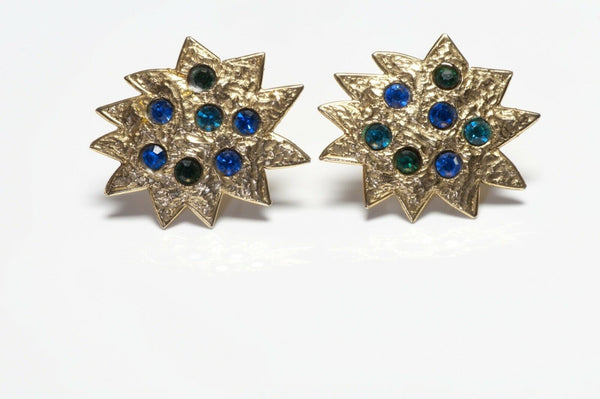 Edouard Rambaud Paris Gold Plated Blue Green Star Earrings
