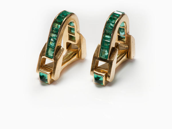 Gold Emerald Stirrup Cufflinks