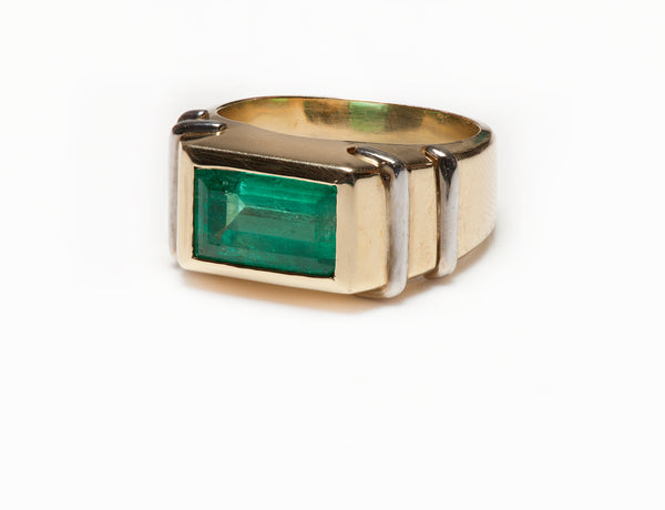 Colombian Emerald Mens Ring Gold