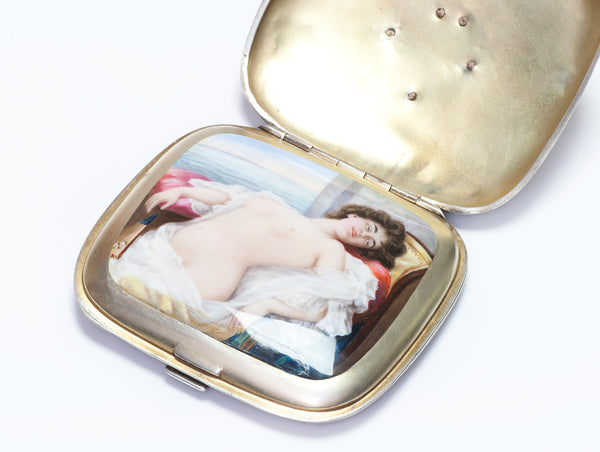 Antique Hidden Mistress Erotic Nude Enamel Silver Case