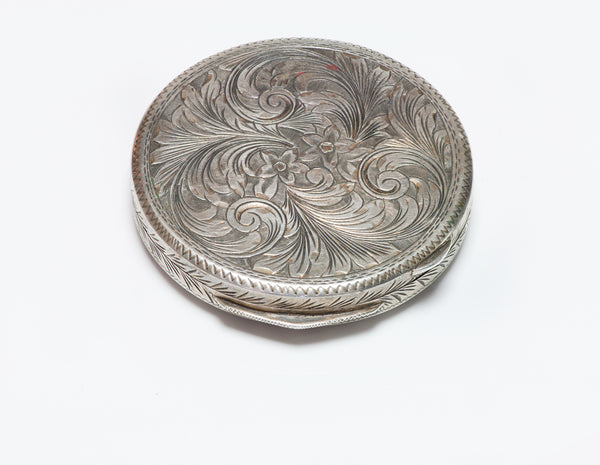 Vintage Silver 800 Silver Round Compact
