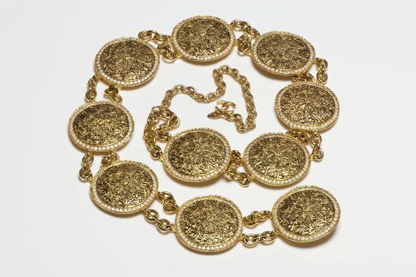 CHANEL Paris 1980's CC Crystal Coin Medallion Belt