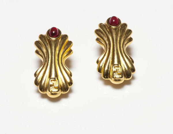 FENDI Gold Plated Red Cabochon Glass Logo Earrings