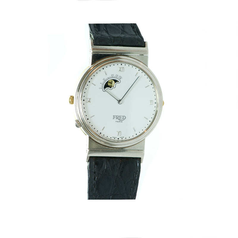 Fred Paris Reversible 18K Yellow and White Gold Moonphase Watch
