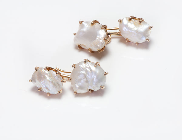 Antique Gold Fresh Water Pearl Cufflinks