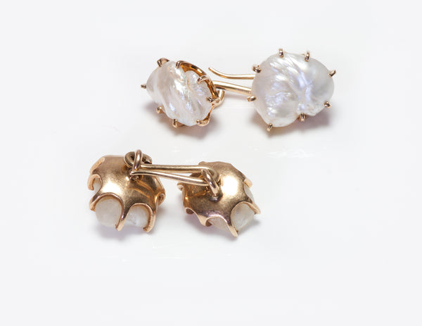 Antique Gold Fresh Water Pearl Cufflinks Y