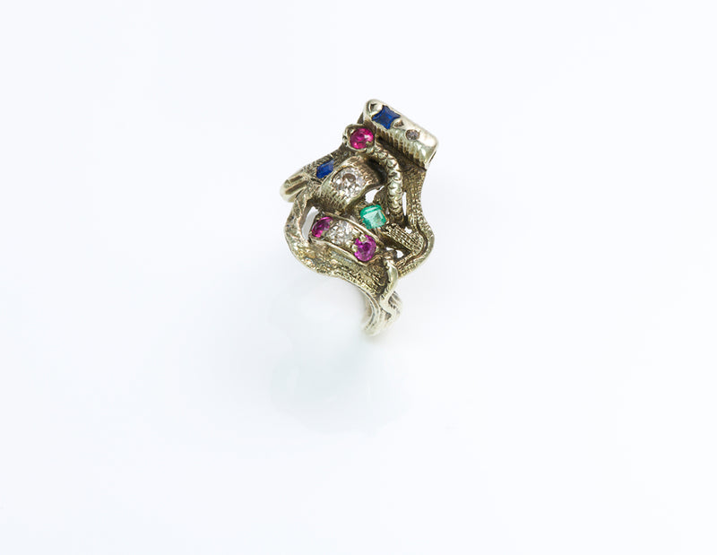 Gemstone Snake Gold Ring