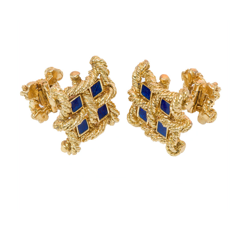 Bailey Banks & Biddle Gold Enamel Cufflinks