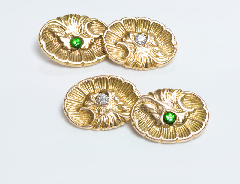 Cufflinks Demantoid Diamond Shell Griffin Gold Antique