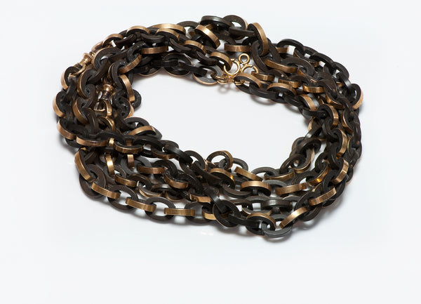 Antique Gold Gutta Percha Chain Link Necklace