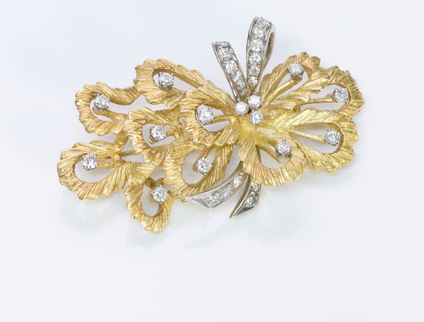 Hammerman Brothers 18K Gold Diamond Brooch