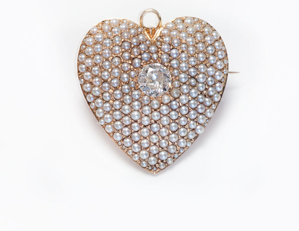 Antique Gold Diamond Seed Pearl Heart Pendant Brooch