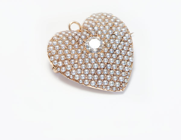 Antique Gold Diamond Pearl Heart Pendant Brooch
