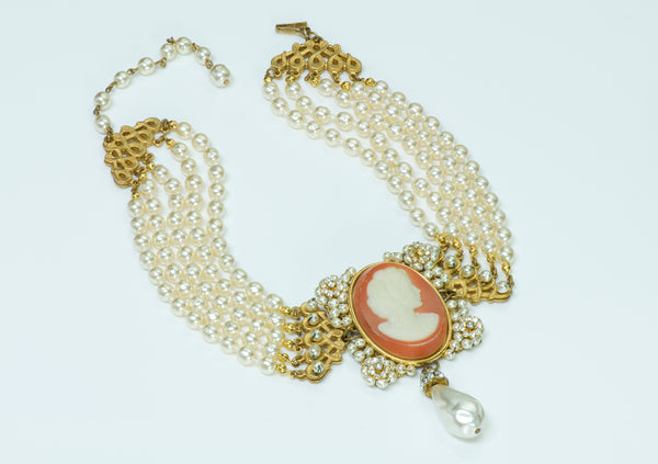 Miriam Haskell Victorian Style Cameo Pearl Necklace