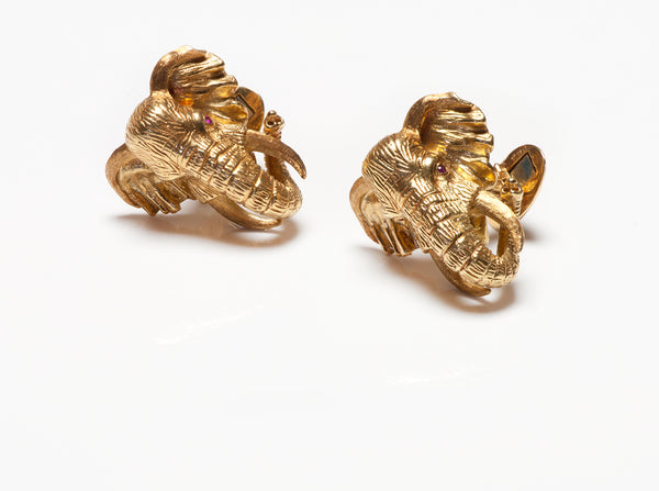 Kurt Wayne 18K Gold Ruby Elephant Cufflinks