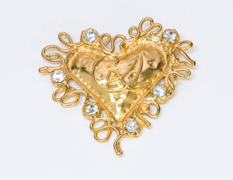 Christian Lacroix Couture Gold Tone Crystal Heart Brooch