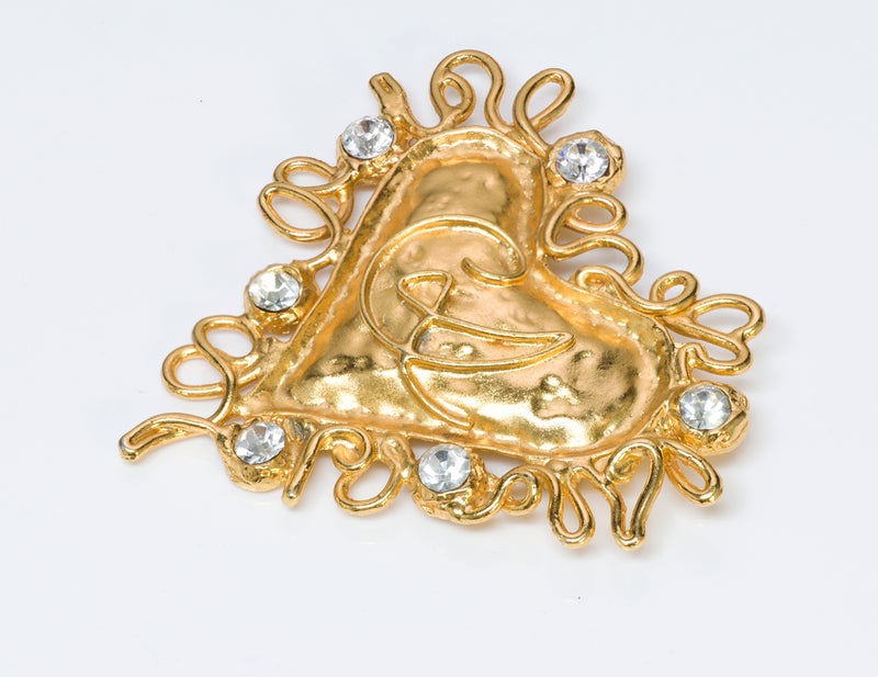 Christian Lacroix Couture Gold Tone Crystal Heart Brooch 1