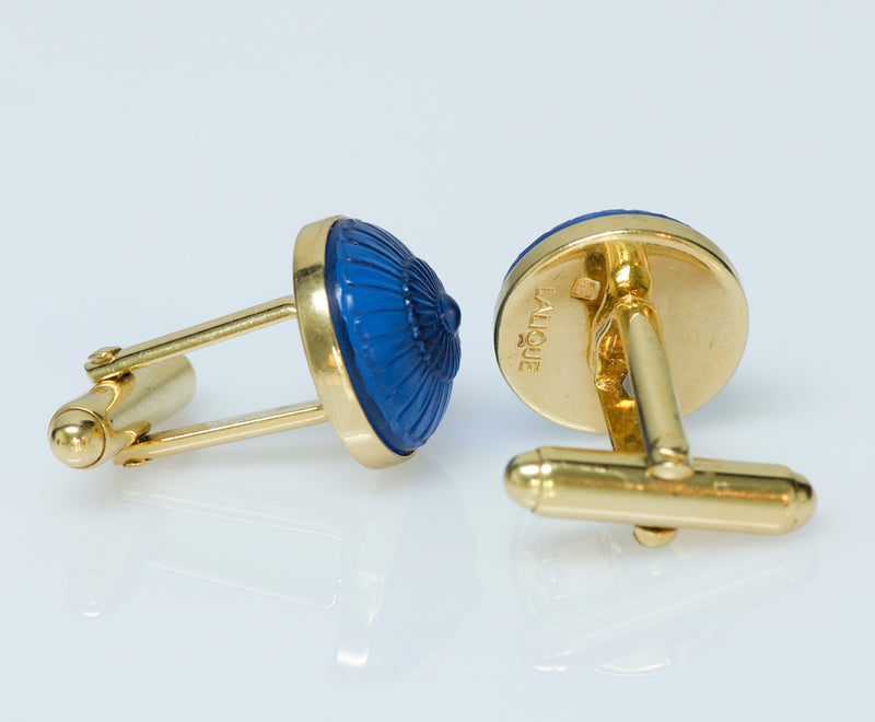 Lalique Gold Plated Glass Cufflinks