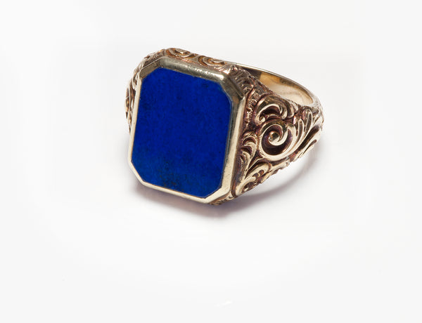 Antique Gold Lapis Men's Ring