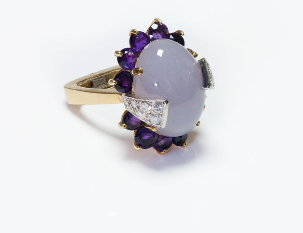 La Triomphe Purple Jade Amethyst Diamond Ring
