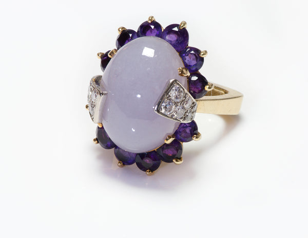 La Triomphe Purple Jade Amethyst Diamond 18K Gold Ring