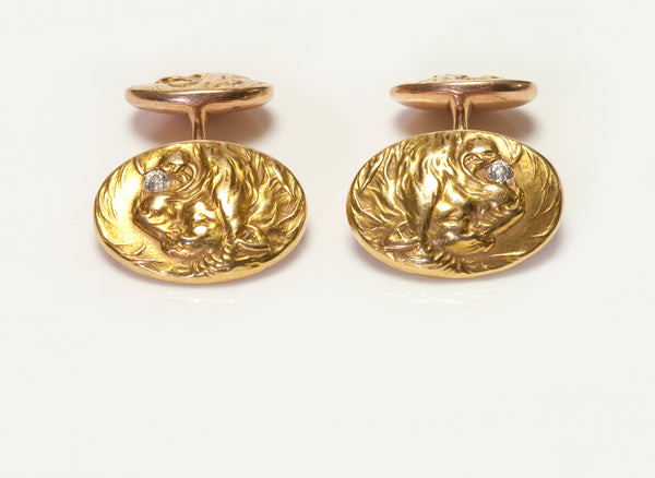 Antique Gold & Diamond Lion Cufflinks