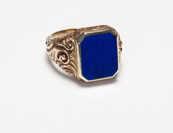 Gold Lapis Men's Ring Antique