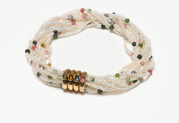 Pearl Multi Strand Collar Necklace