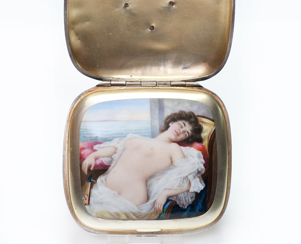 Antique Mistress Erotic Nude Enamel Silver Cigarette Case