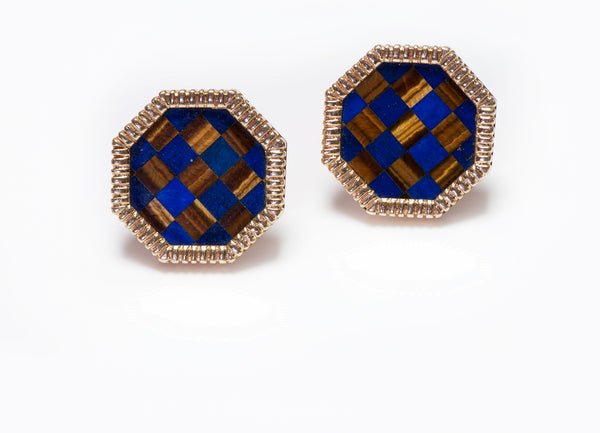 Gold Octagonal Lapis & Tiger Eye Inlaid Cufflinks