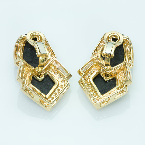18K Yellow Gold Onyx Baguette Round Diamond Earrings