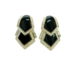 18K Gold Onyx Diamond Earrings