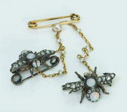 Antique Opal Diamond Gold Silver & Pearl Bug Pin