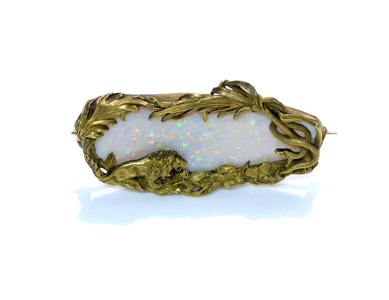 Lion & Snake Antique Gold Opal Brooch