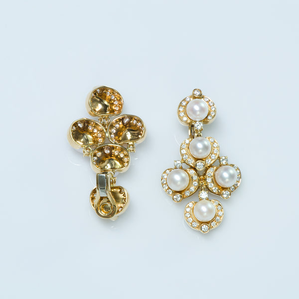 Gold Pearl Diamond Earrings