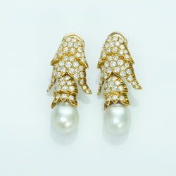 Gold Diamond and Pearl Earrings