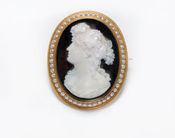 Antique Gold Pearl Onyx Cameo Brooch