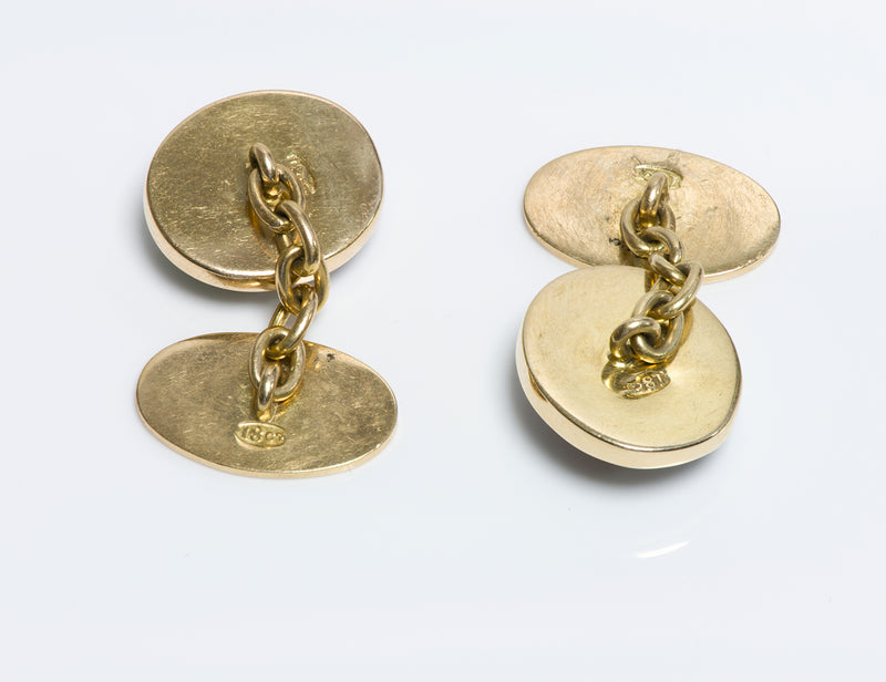 Antique 18K Gold Reverse Crystal Cufflinks