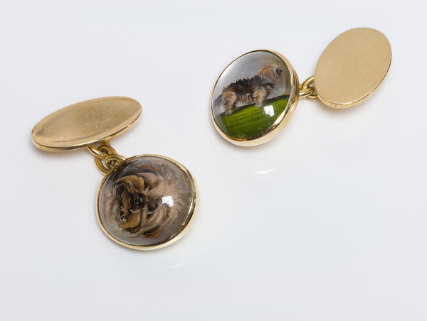 Antique Reverse Crystal Dog Gold Cufflinks