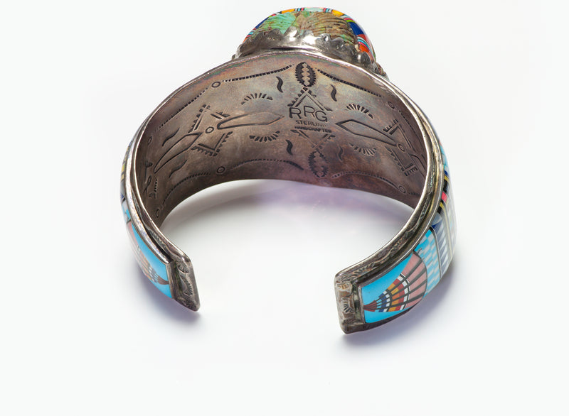 Ronnie Ramil Glodove American Indian Silver Face Inlay Cuff Bracelet RRG