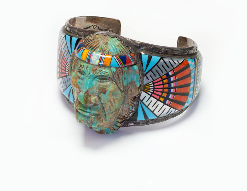 Ronnie Ramil Glodove RRG American Indian Silver Face Inlay Cuff Bracelet