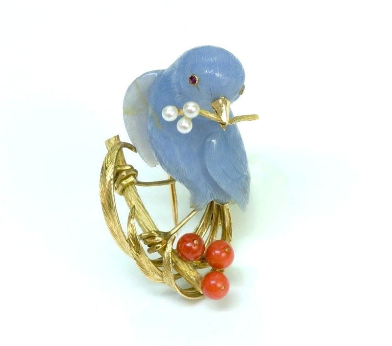 French Chalcedony Bird 18K Gold Coral Pearl Brooch