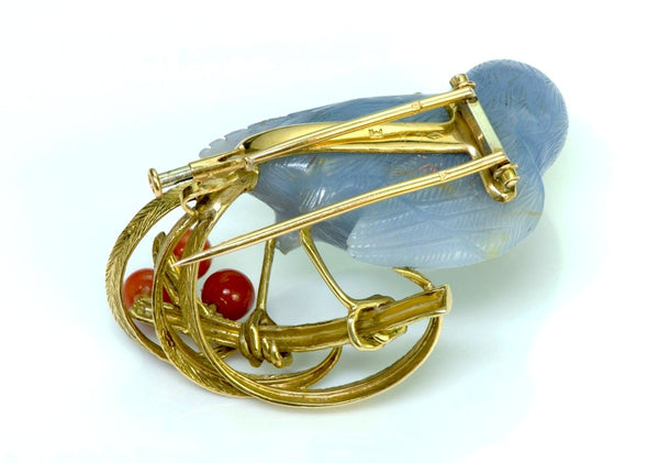 French Chalcedony Bird 18K Gold Coral Pearl Brooch 1