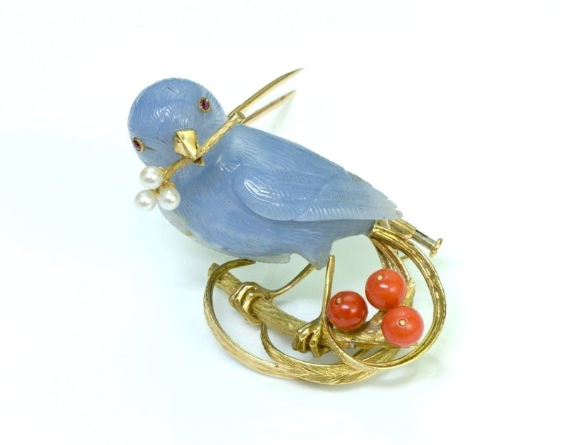 Chalcedony Bird 18K Gold Coral Pearl Brooch