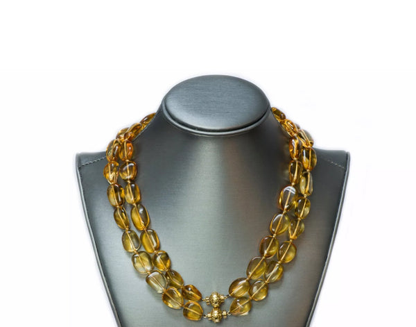 Seaman Schepps Citrine Bead 18K Gold Necklace